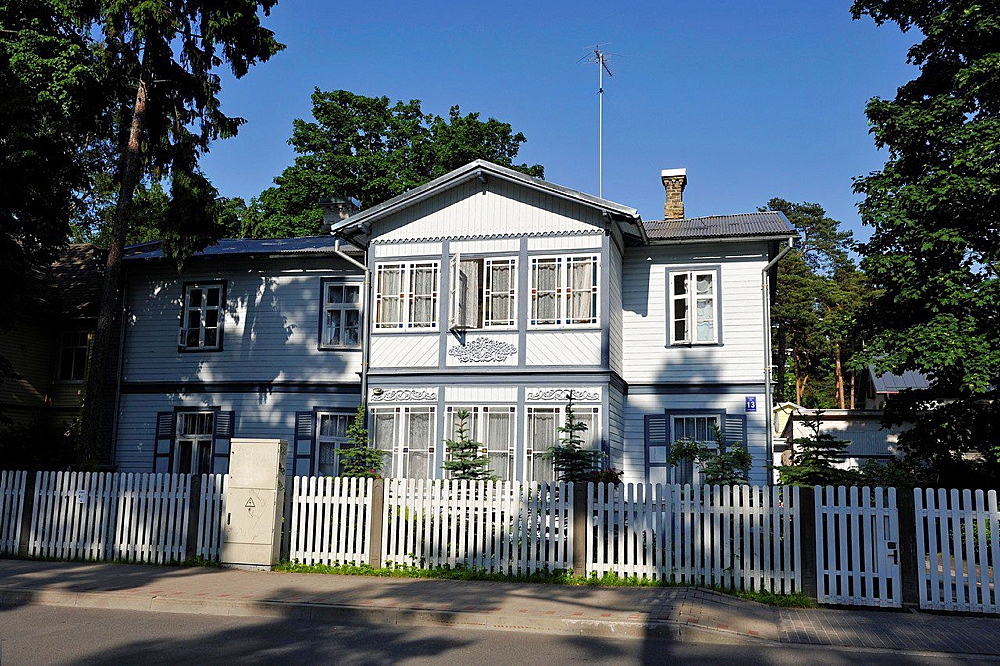 typical wooden house at Jurmala, Gulf of Riga, Latvia, Baltic region, Northern Europe.