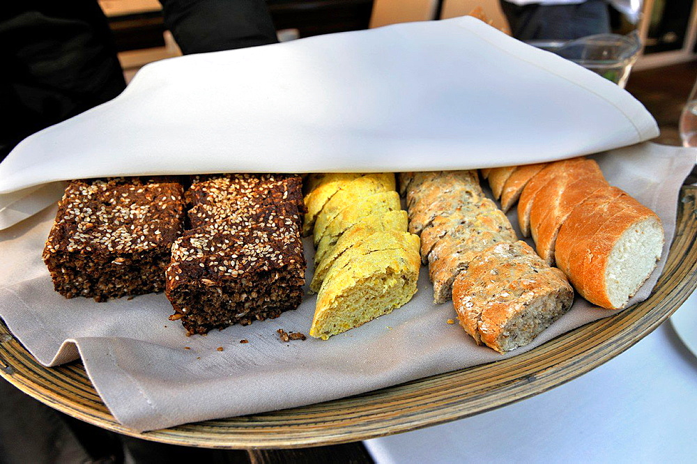 bread assortment served at the restaurant Majorenhoff, Majori, Jurmala, Gulf of Riga, Latvia, Baltic region, Northern Europe.
