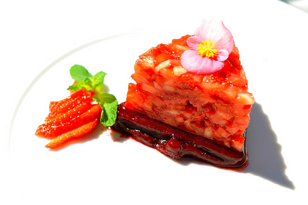 strawberry dessert served at the restaurant Majorenhoff, Majori, Jurmala, Gulf of Riga, Latvia, Baltic region, Northern Europe.