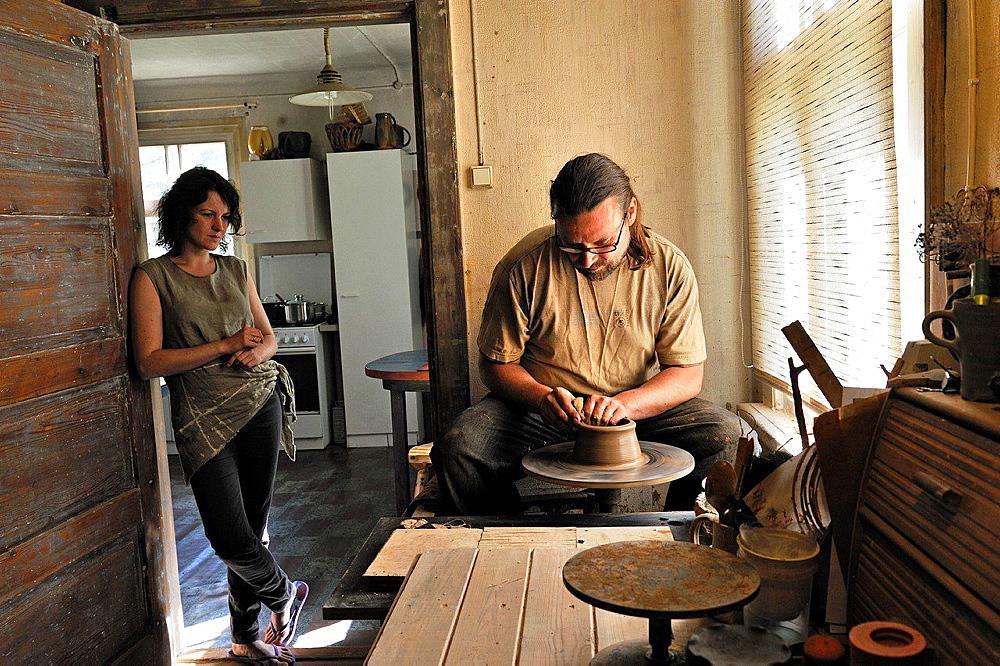 Ivars and Leva, potters craftman in their workshop at Kemeri, Jurmala, Gulf of Riga, Latvia, Baltic region, Northern Europe.