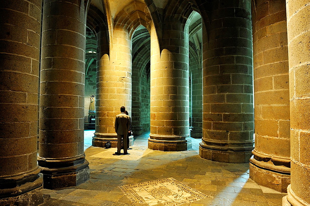 Crypt of the massive pillars, Mont Saint-Michel Abbey, Manche department, Low Normandy region, France, Europe.