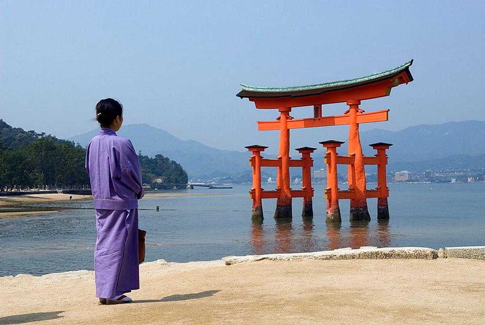 Itsukushima shrine torii temple gate, miyajima island, near Hiroshima,Japan