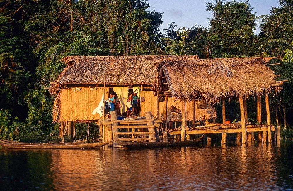 Stilt houses. Amerindian Warao. Amacuro delta Orinoco. Venezuela.