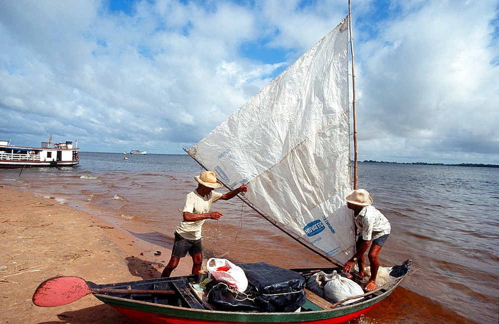 Confluence Of The Amazonas And Tapajos Rivers, Santarem, State Of Para, Amazon Region, Brazil, South America.