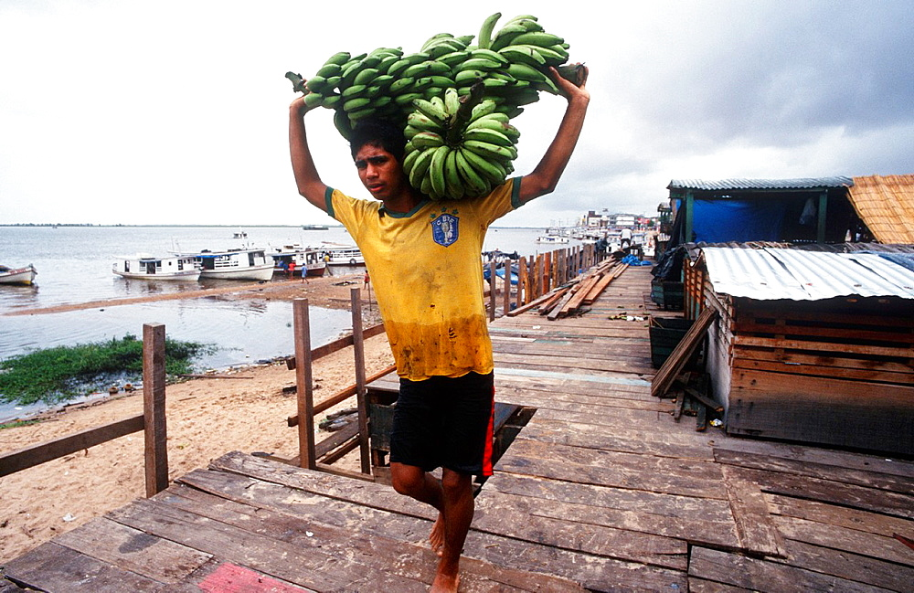 Confluence Of The Amazonas And Tapajos Rivers, Port, Unload Bananas, Santarem, State Of Para, Amazon Region, Brazil, South America. - 817-454064