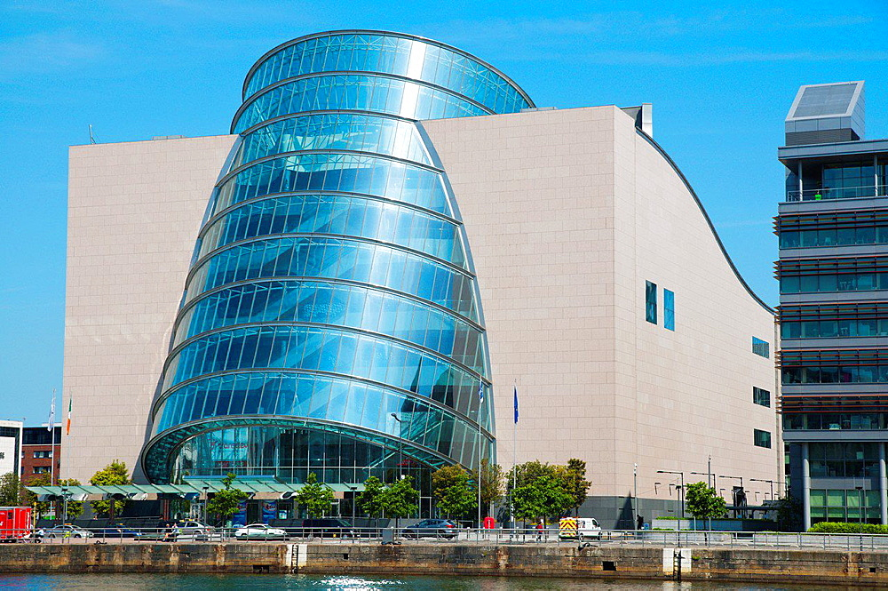 Convention centre Docklands former harbour area by River Liffey central Dublin Ireland Europe.