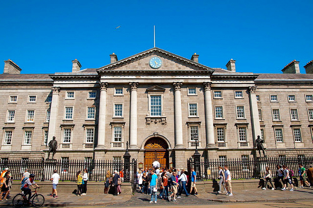 West Front of Trinity College university central Dublin Ireland Europe.