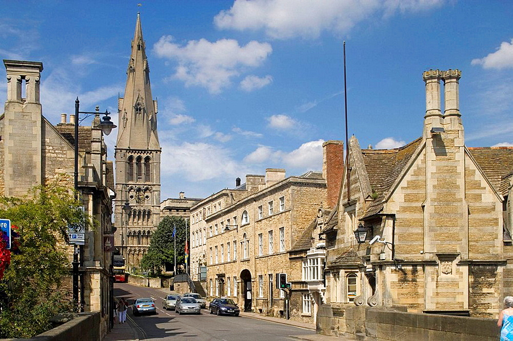 Stamford, Saint Mary's Hill, Saint Mary's church, the great west Tower, Lincolnshire, the Midlands, UK