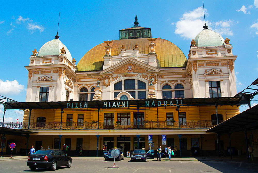 Hlavni nadrazi the main railway station Plzen Czech Republic Europe.