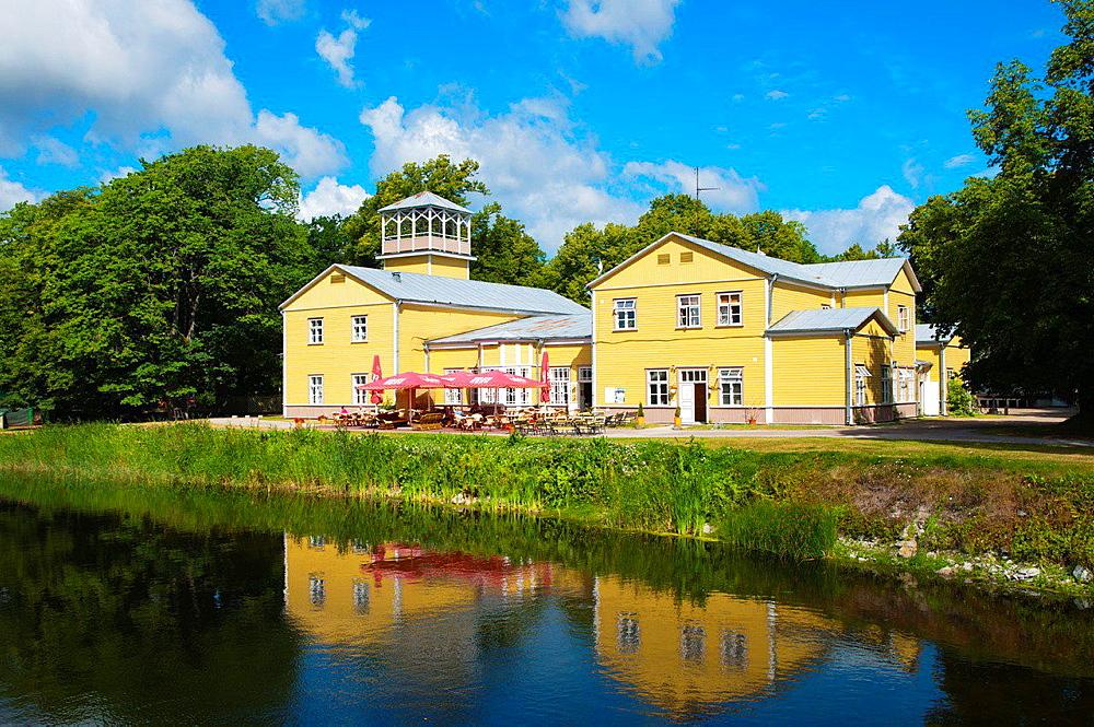 Kuurhoone resort club with restaurant Lossipark park Kuressaare town Saaremaa island Estonia northern Europe.