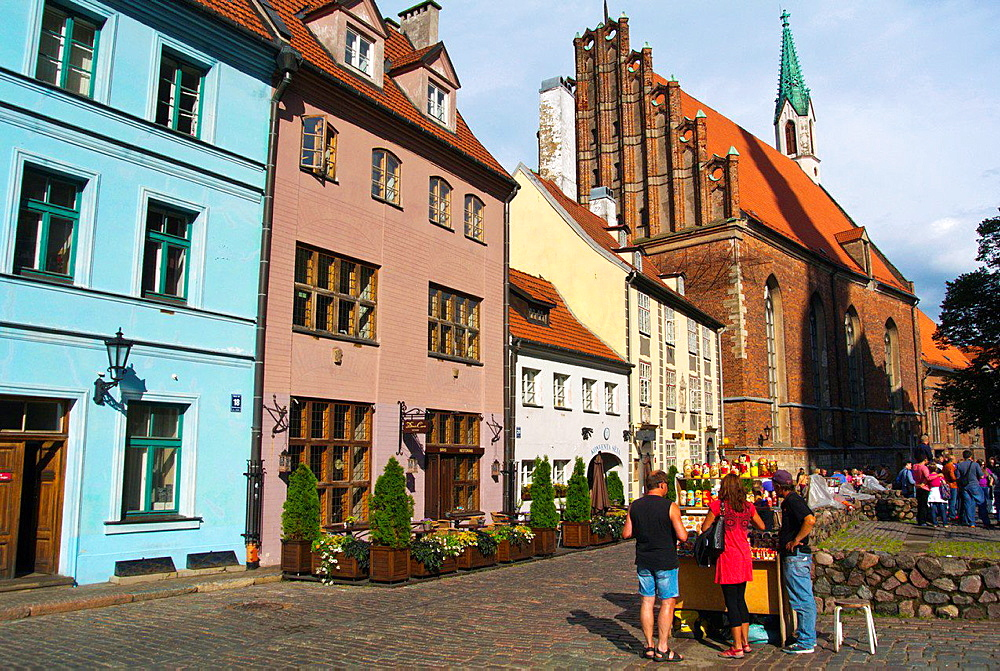 Skarnu iela street with St Johns church old town Riga Latvia the Baltic States northern Europe.