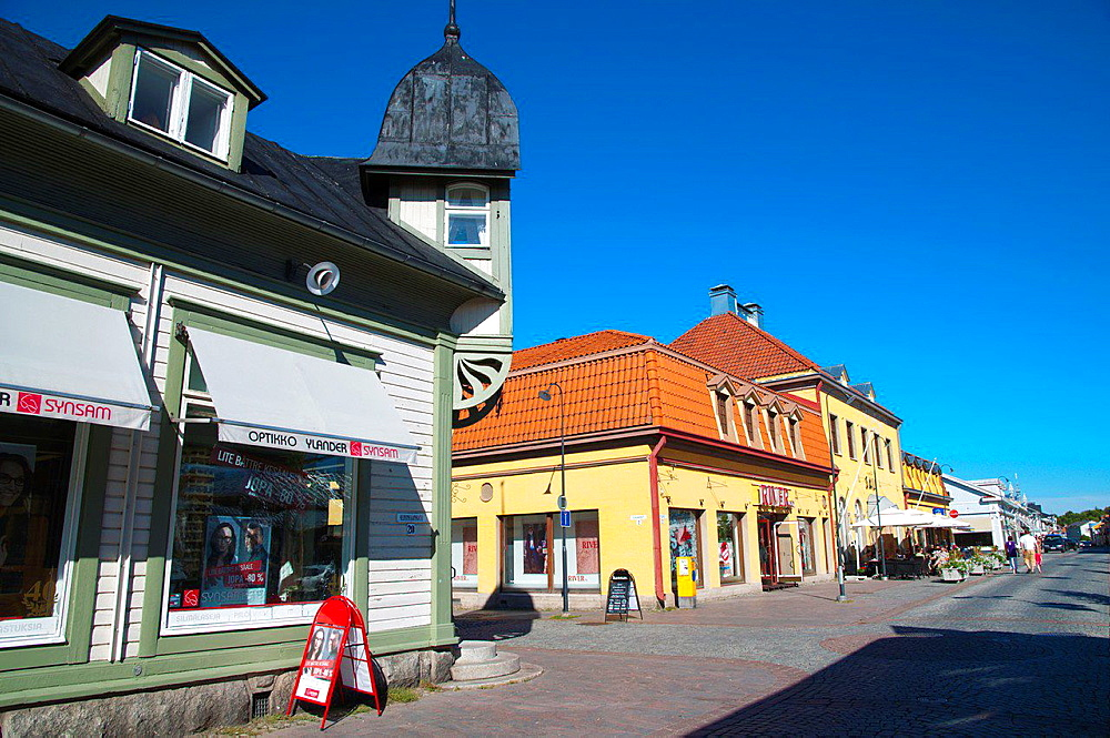 Kuninkaankatu street at Kauppatori the market square old Rauma western Finland northern Europe.