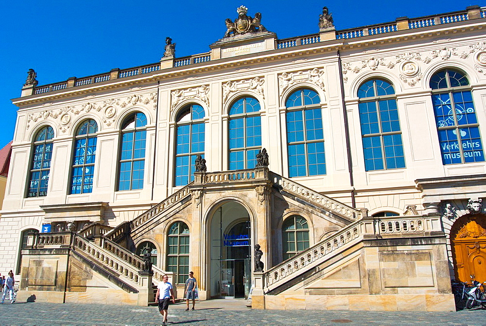 Verkerhrsmmuseum Neumarkt square Altstadt the old town Dresden city Germany central Europe.