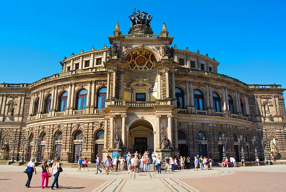 Semperoper opera house at Theaterplatz square Altstadt the old town Dresden city Saxony state eastern Germany central Europe.