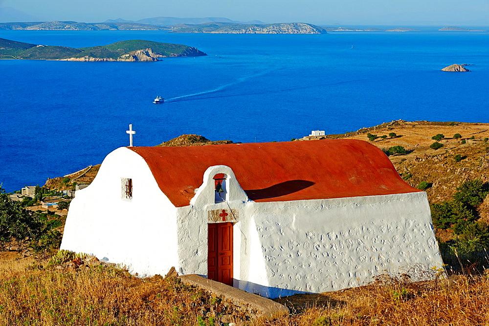 Greece, Dodecanese, Patmos island, small church.