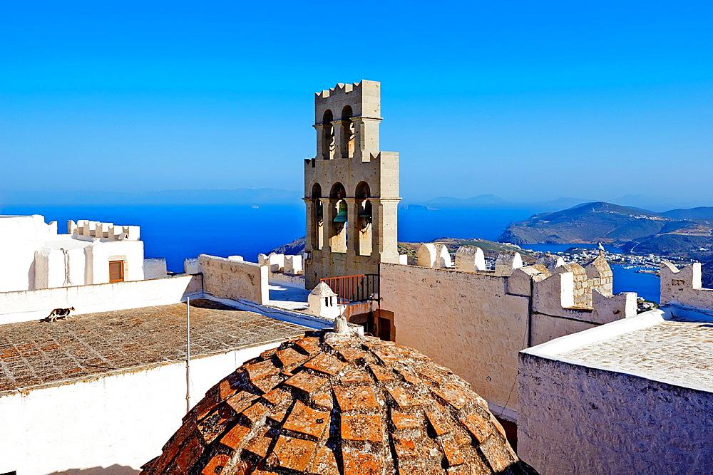 Greece, Dodecanese, Patmos island, Agios Ioanis Theologos, St John Monastery, Unesco world heritage.