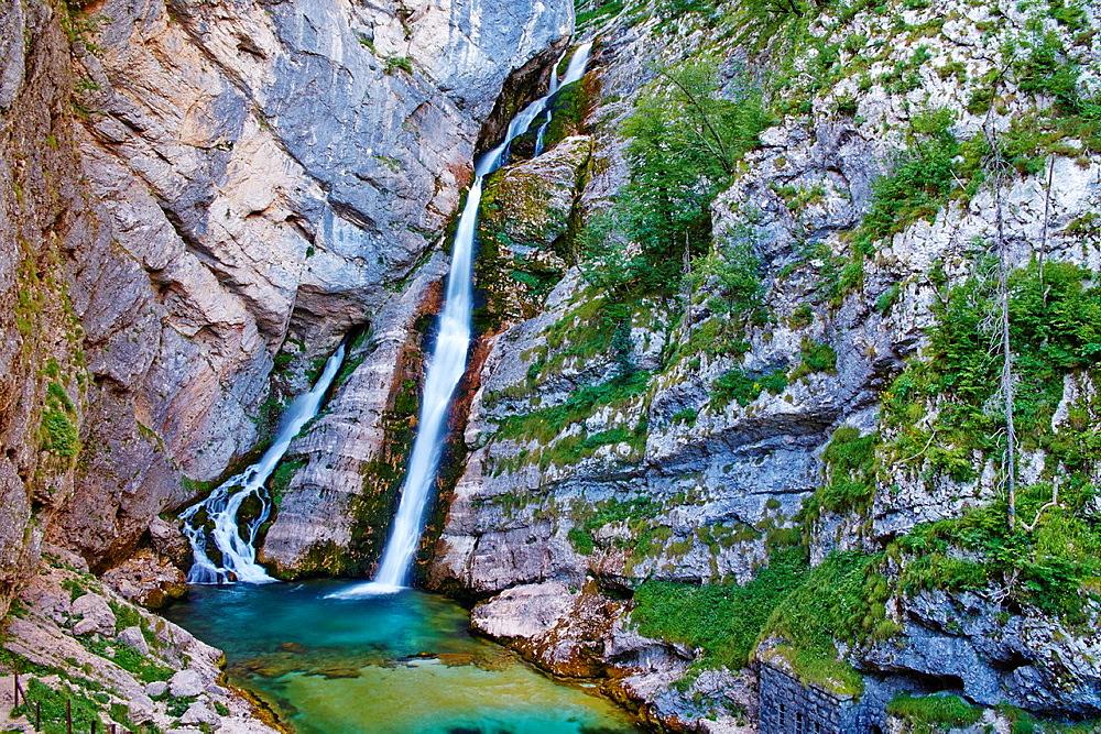 Slovenia, Gorenjska region, Triglav National Park, Bohinj, Savica waterfall.