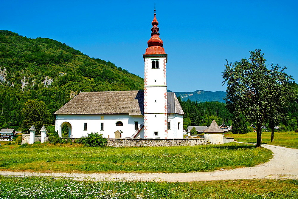 Slovenia, Gorenjska region, Triglav National Park, church near Bohinj lake.