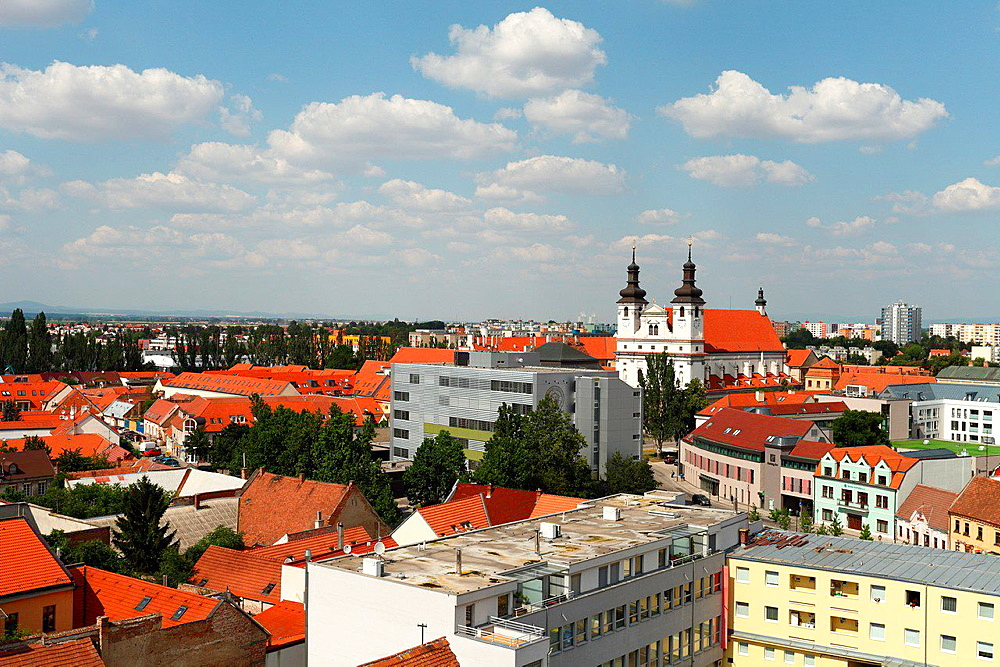 View of the town Trnava from the bell tower.