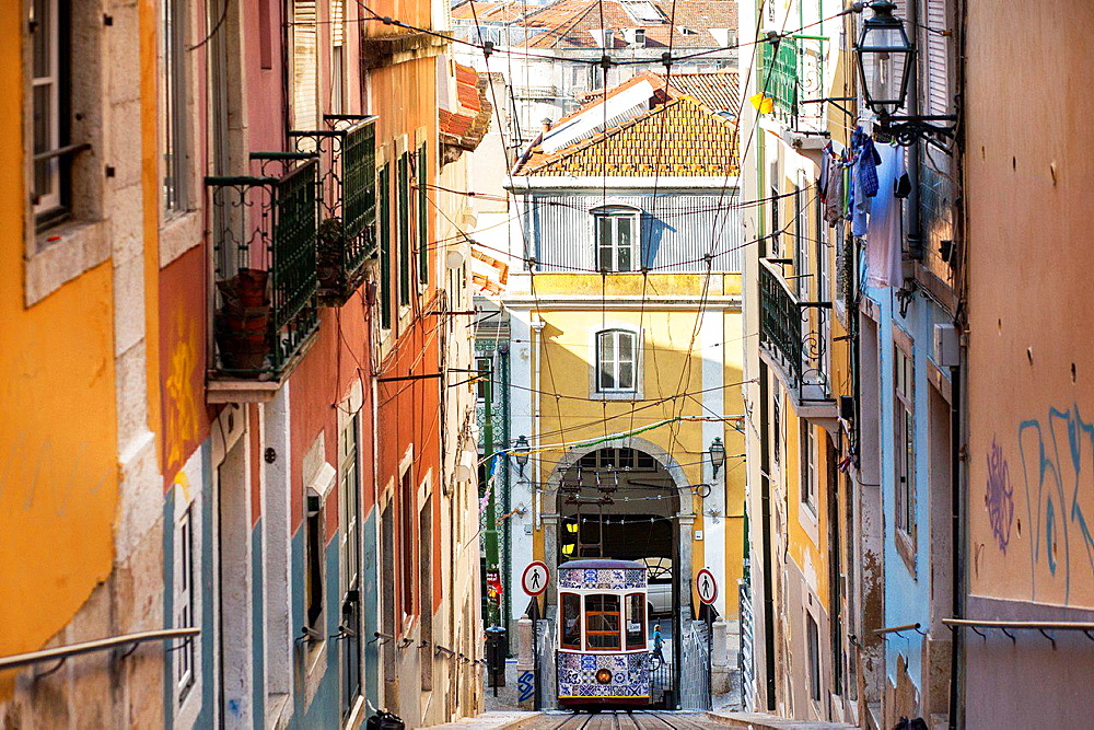 The Bica Funicular, Lisbon, Portugal, Europe.