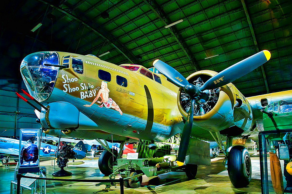 Shoo Shoo Baby is the name of a B-17 Flying Fortress in World War II, preserved and on public display. A B-17G-35-BO, serial number 42-32076, and manufactured by Boeing, it was named by her crew for a song of the same name made popular by The Andrews Sisters, the favorite song of its crew chief T/Sgt. Hank Cordes. Photographs of the bomber indicate that a third 'Shoo' was added to the name at some point in May 1944 when the original aircraft commander completed his tour of duty and was replaced by another pilot.