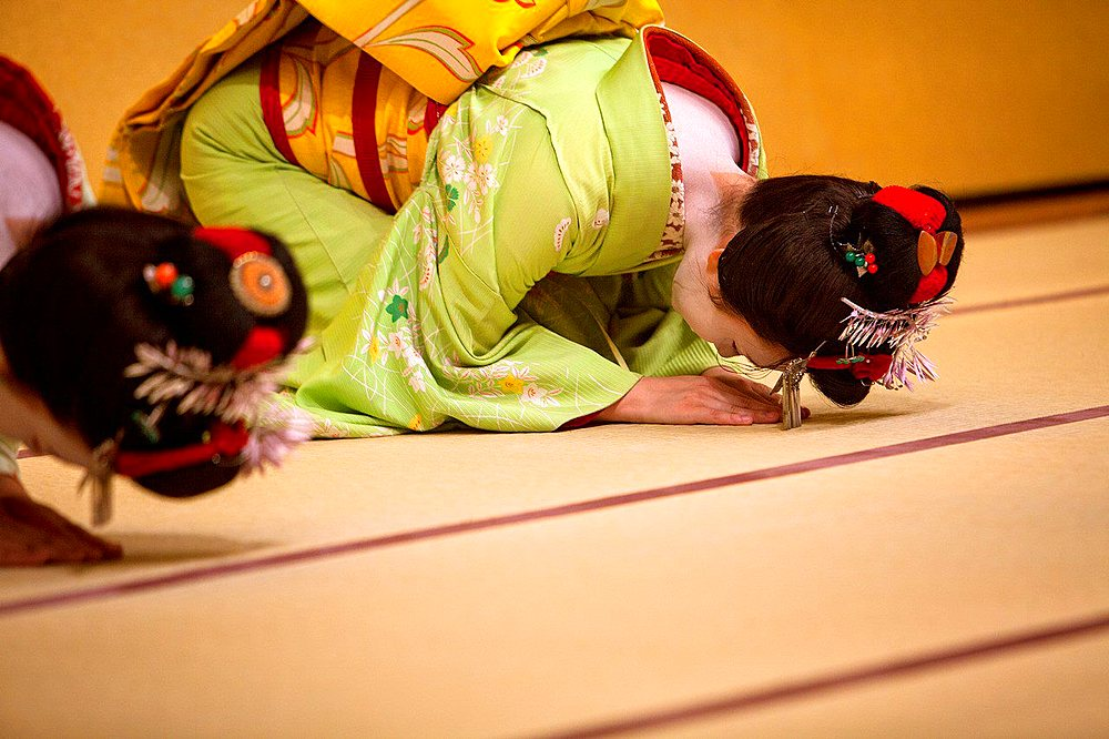 Show of Maikos,(geisha apprentices)they interpret Kyomai, is a Kyoto dance,at Gion Kobu Kaburenjo, geisha's distric of Gion.