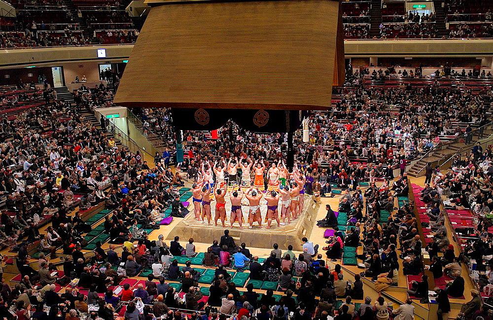 Sumo tournament in Ryogoku kokugikan stadium,Tokyo city, Japan.