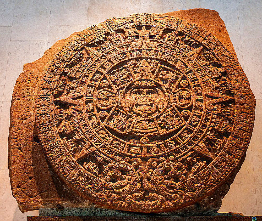 Piedra del Sol' (Stone of the Sun), Aztec civilization, National Museum of Anthropology. Mexico City. Mexico.