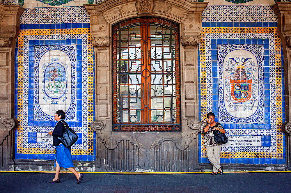 Tile mural at Old City Hall, Plaza de la Constitucion, El Zocalo, Zocalo Square, Mexico City, Mexico.