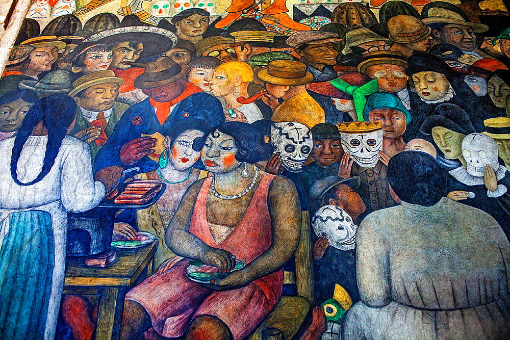 Day of the dead by Diego Rivera, at SEP (Secretaria de Educacion Publica),Secretariat of Public Education, Mexico City, Mexico.