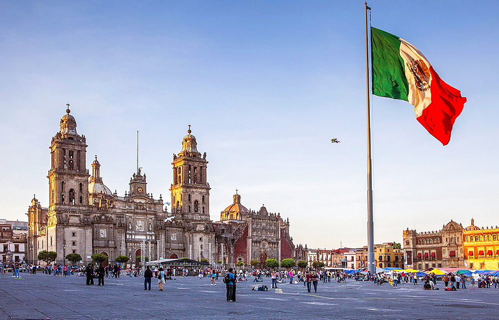The Metropolitan Cathedral, in Plaza de la Constitucion, El Zocalo, Zocalo Square, Mexico City, Mexico.