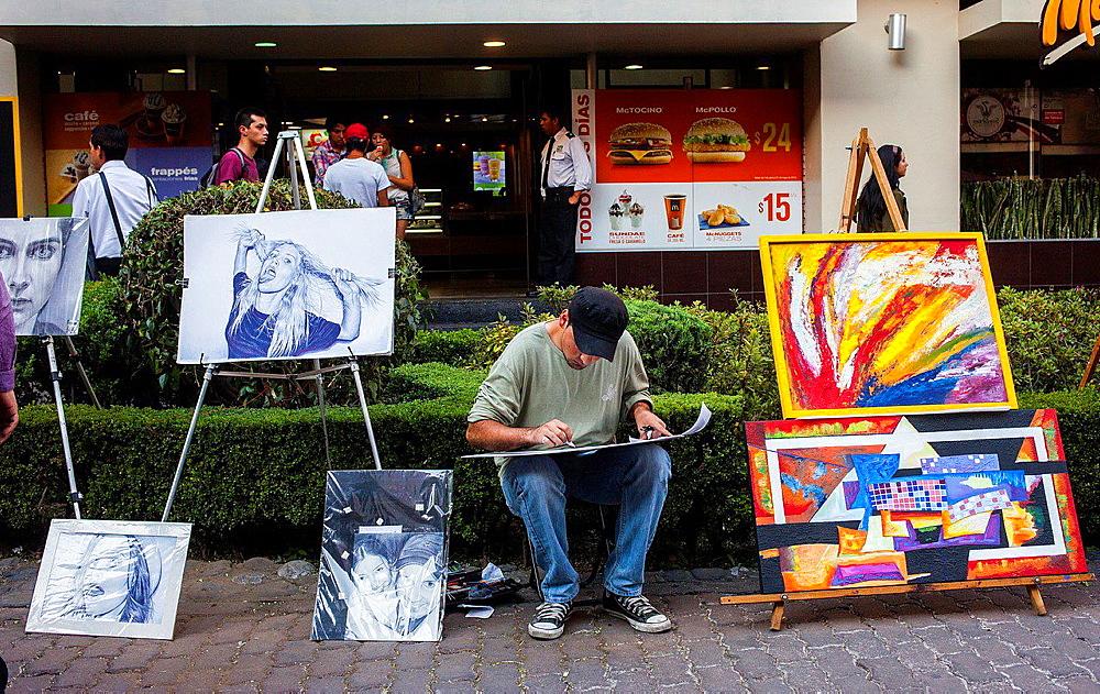 Street painter, Ga©nova street, Pink zone, Mexico City, Mexico.