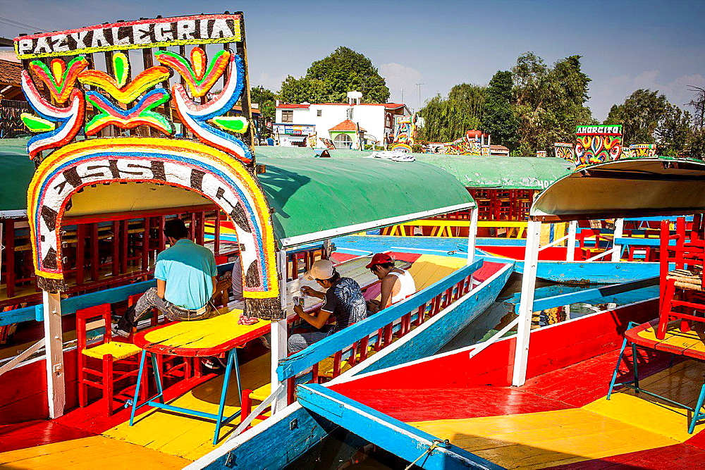 Trajineras on Canal, Xochimilco, Mexico City, Mexico. - 817-455868