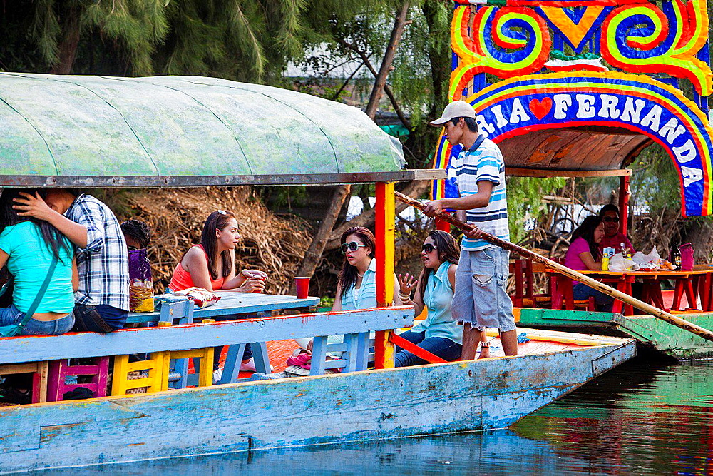 Trajineras on Canal, Xochimilco, Mexico City, Mexico. - 817-455872