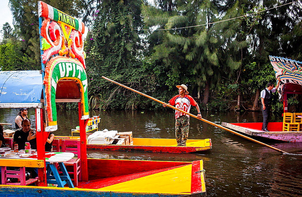 Trajineras on Canal, Xochimilco, Mexico City, Mexico. - 817-455878