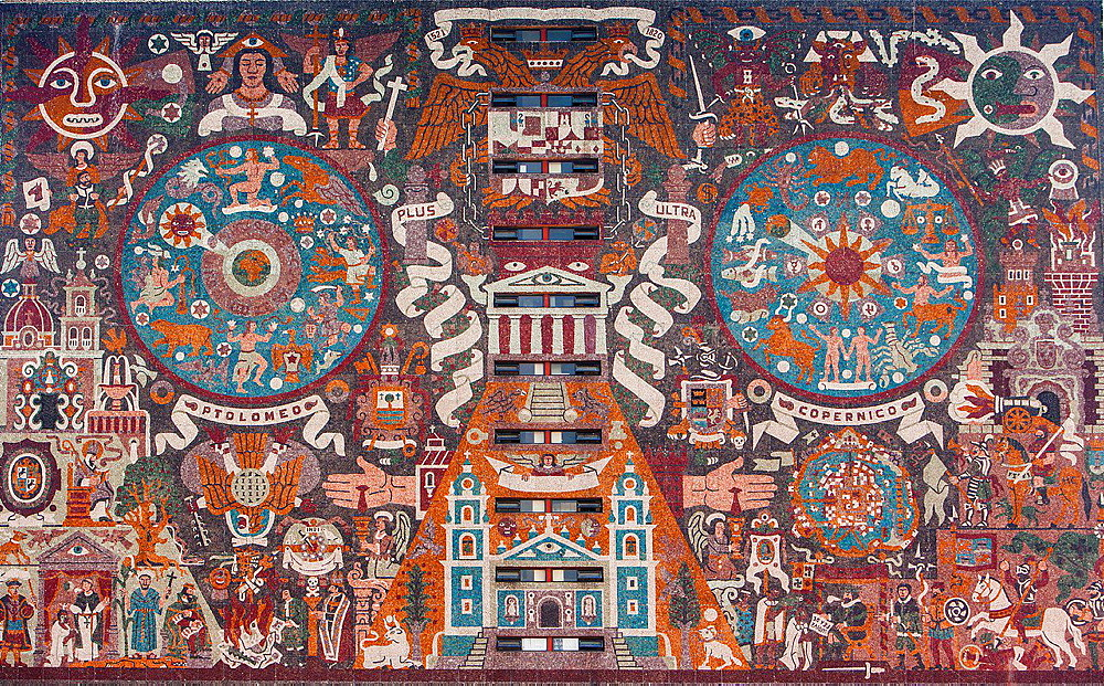 Representacion historica de la cultura', mural by Juan O'Gorman on the facade of the library, campus of the Universidad Nacional Autonoma de Mexico UNAM listed as World Heritage by UNESCO, Mexico City, Mexico.