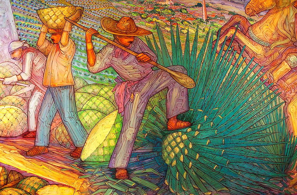 Mural by Maestro Carlos Terres, Jose cuervo tequila distillery in tequila village, Mexico.