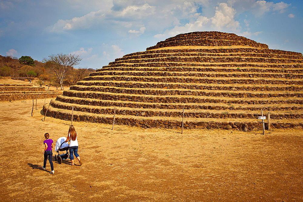 Circular stepped pyramid, Guachimontones archaeological site, near Teuchitlan, Jalisco, Mexico.