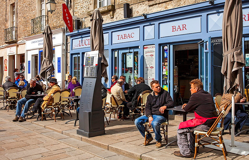 Outdoor cafe and creperie pancake house in Place Saint-Aubin, medieval city, Guerande, Loire-Atlantique, France.