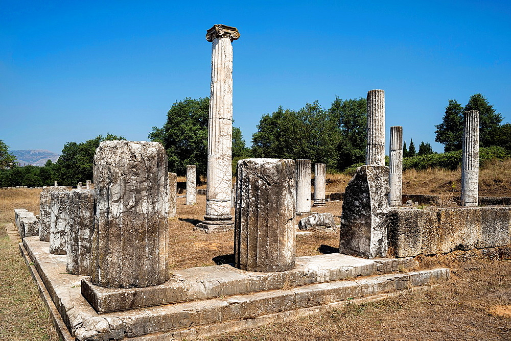 The ruins of the stoa at Ancient Megalopolis. Megalopoli, central Peloponnese, Greece.