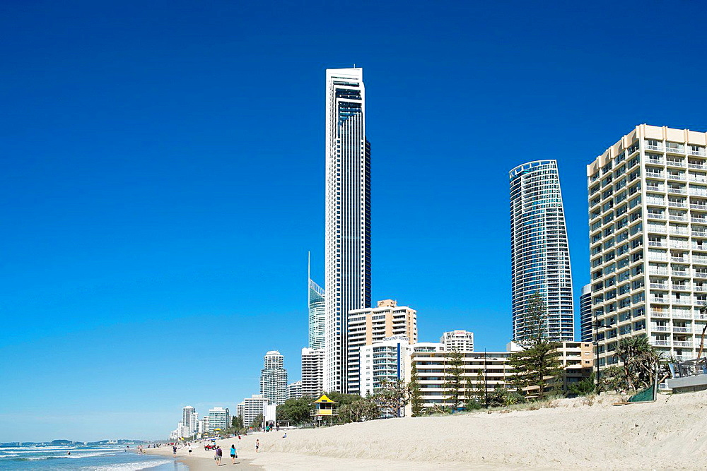 Skyline of Surfers Paradise town from beach on The Gold Coast in Queensland Australia.