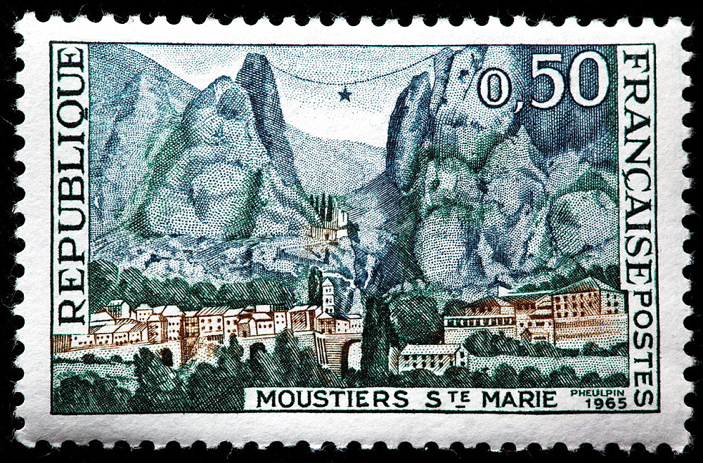 Moustiers-Sainte-Marie, postage stamp, France, 1965