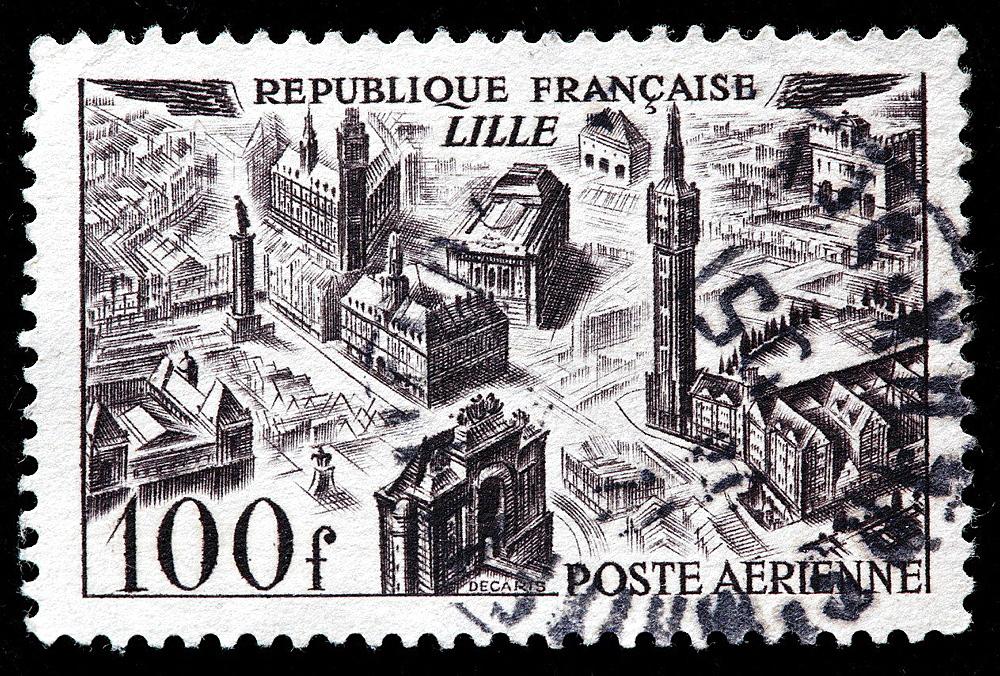 Lille, postage stamp, France, 1949