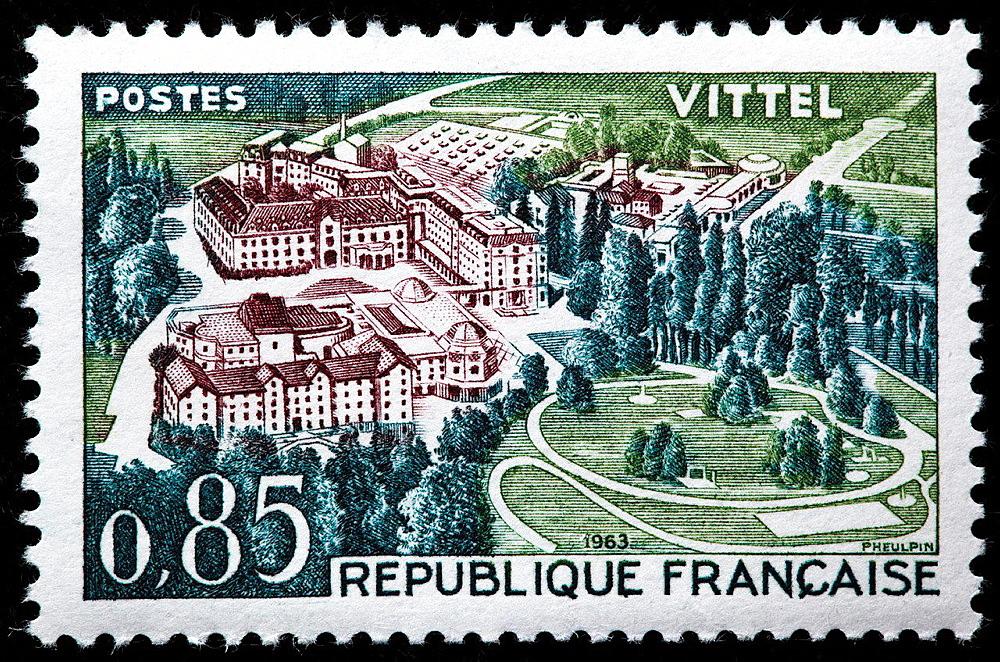 Vittel, Lorraine, postage stamp, France, 1963