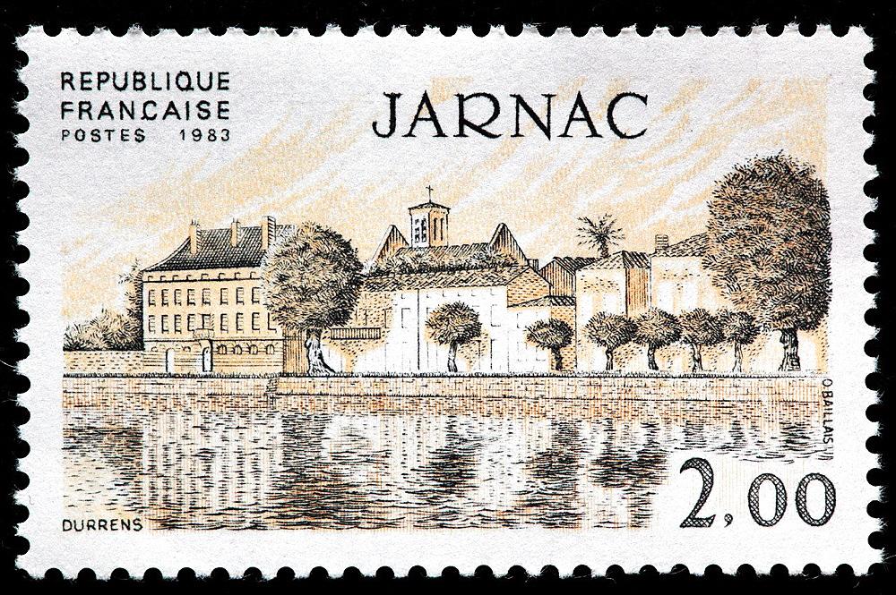 Jarnac, postage stamp, France, 1983