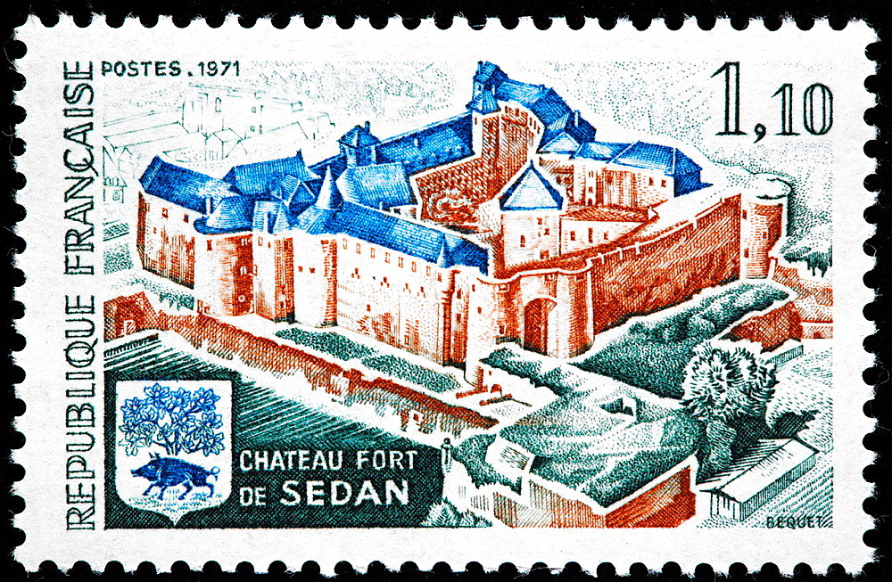 Chateau and Fort de Sedan, postage stamp, France, 1971