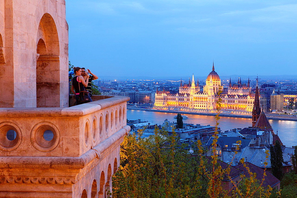 Parliament house seen from the Fishermen's Bastions, Budapest, Hungary.