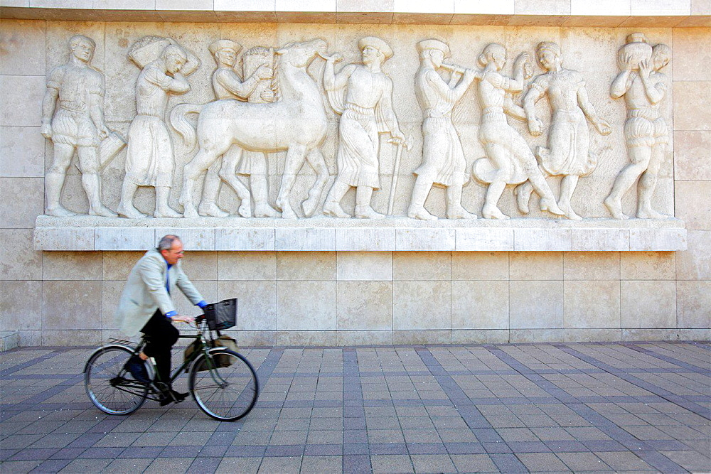 Cyclist in Budapest, Hungary.