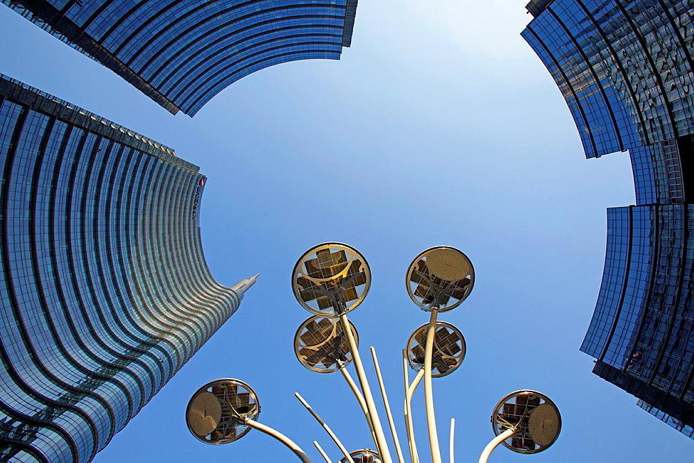Modern skyscrapers at Porta Nuova, Milan, Italy.