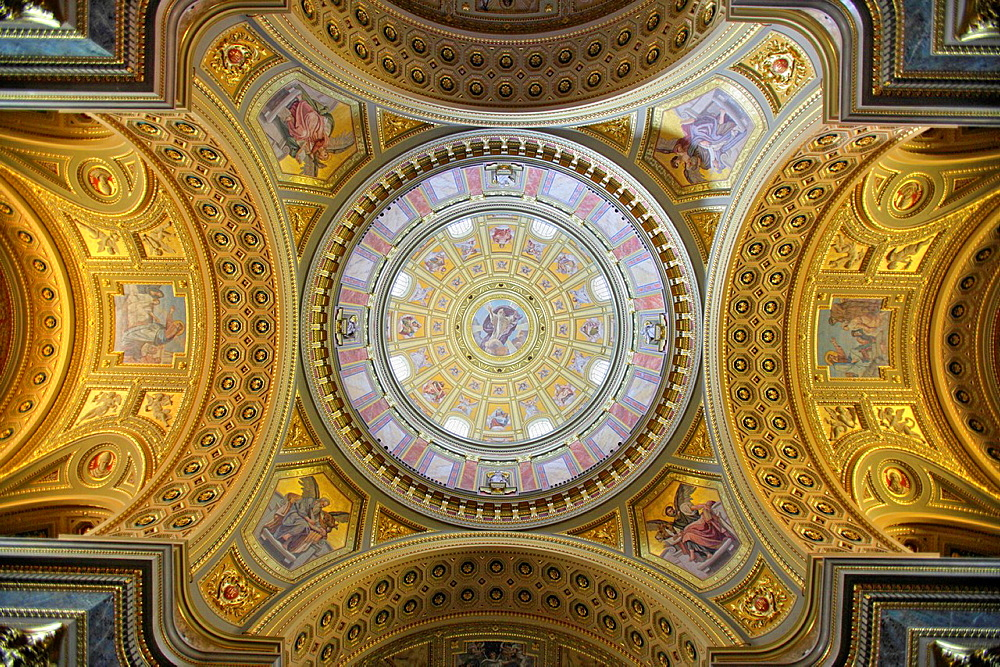 The Dome of St. Stephen's Basilica, Budapest, Hungary.
